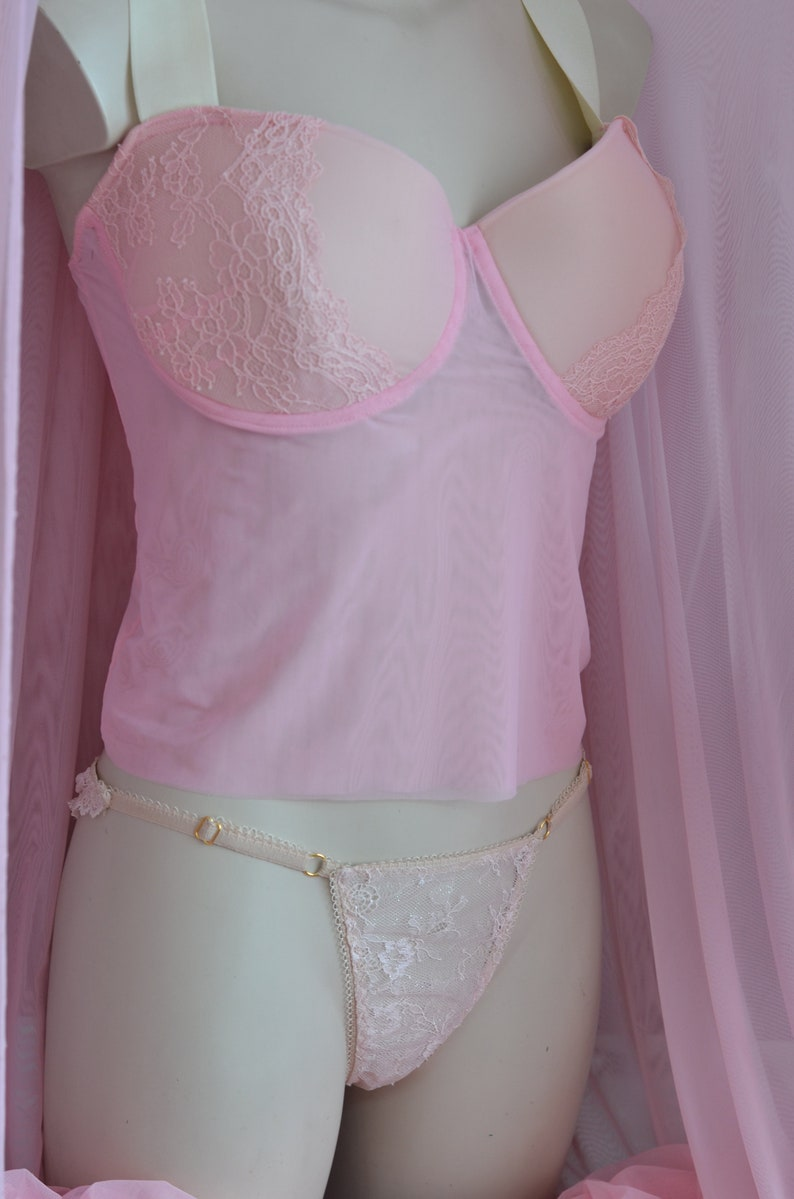 The Padded Cup Pink Mesh  /& Lace  Underwired Bra Top  MADE TO ORDER