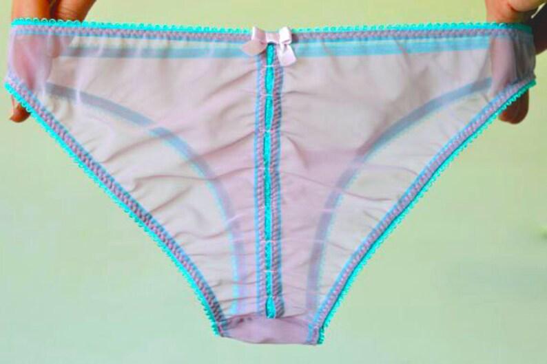 Women Sleepwear /& Intimates Panties Handmade Lingerie  The Locked Peek-a-Boo Lilac Mesh Panties Made to Order