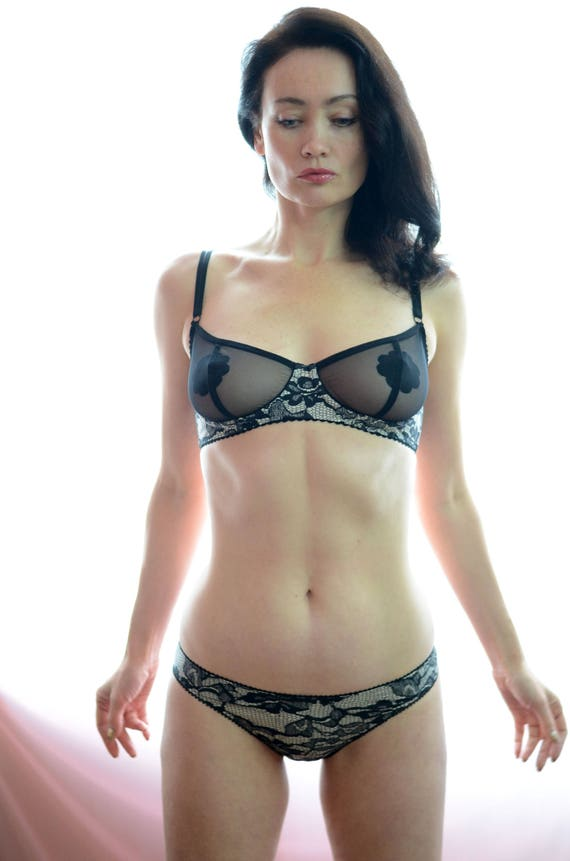 Women Sleepwear &Amp;Amp; Intimates Bras The Sheer Mesh Cup Lacey Jersey Underwire  Bra Made To Order by Etsy