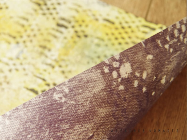Paper placemat reversible x 2 Yellow /& Violet Set of 4