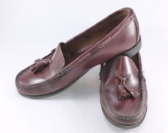 58e0ee34e113 Dexter Tassel Loafers Cordovan Color Leather Women s Size 7 N Narrow 1980s  Preppy Shoes