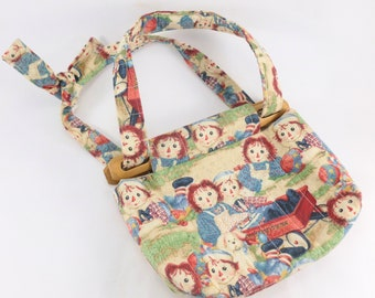 d7c049ab40eb Raggedy Ann and Andy Child Size Purse Handmade from Fabric and Wooden Dowels
