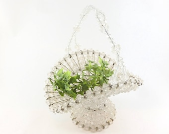 Beaded Safety Pin Basket Handmade with Clear Beads