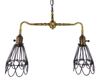 Industrial Chandelier Pendant 2 Wire Shades Brass Light Fixture Custom Made NYC  sc 1 st  Etsy & Vintage Lighting Lamps u0026 Lampshades Handmade in NYC by JudisLamps