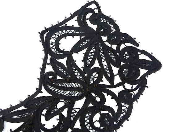 Embroidered Collar Black Rare Antique Edwardian V… - image 8