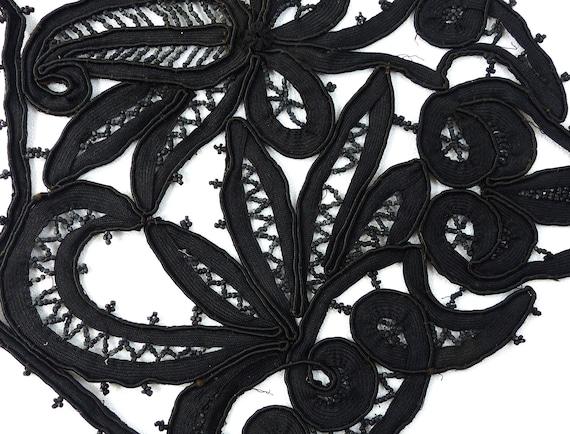 Embroidered Collar Black Rare Antique Edwardian V… - image 4