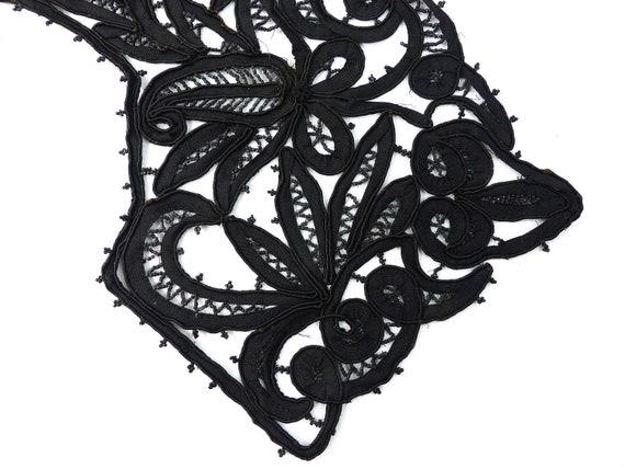 Embroidered Collar Black Rare Antique Edwardian V… - image 3