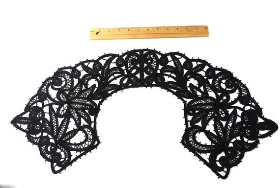 Embroidered Collar Black Rare Antique Edwardian V… - image 1