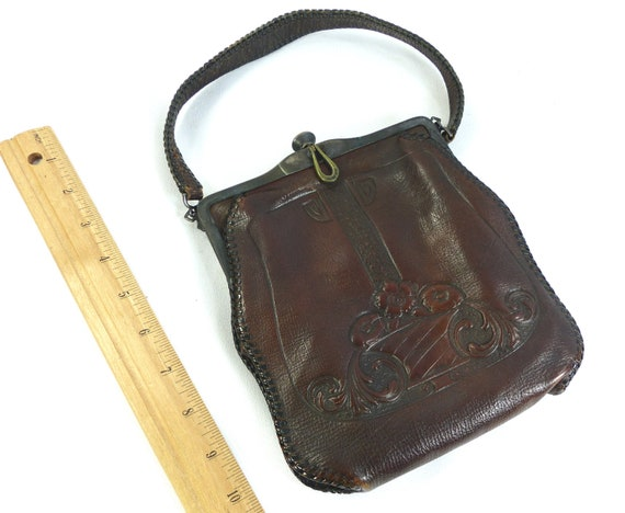 Handbag Nouveau Antique Leather Purse Brown Beautiful 1900s   Etsy 491e6cb279