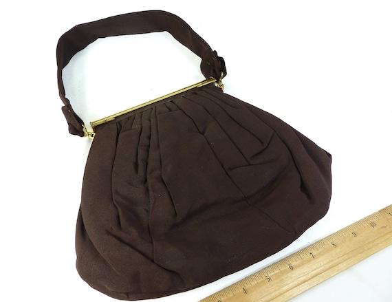 Handbag Purse Brown Fabric Vintage 1940s