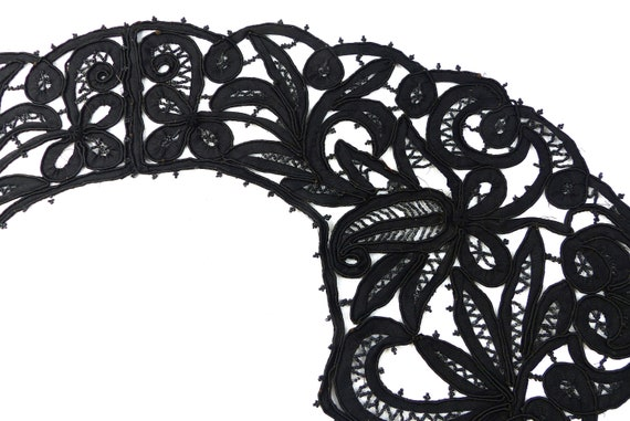 Embroidered Collar Black Rare Antique Edwardian V… - image 5