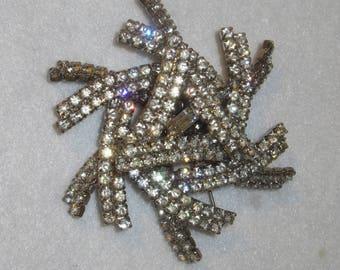 Massive Rhinestone Vintage Layered Star Pin
