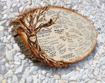 Original Design: Wood slice rustic theme wedding guest books. Personalized