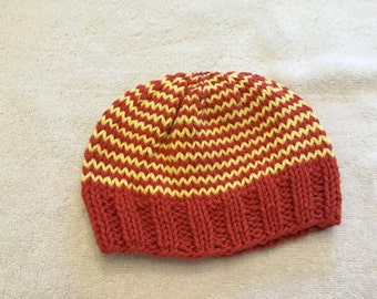 Orange and Yellow Striped Baby Hat