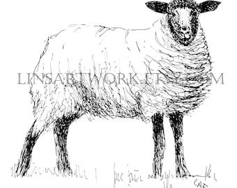 Downloadable Sheep Print , Sheep print, Pen and Ink digital prints, black and white sheep print .sheep image, sheep prints digital