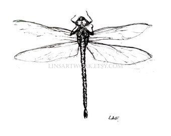 Downloadable Dragonfly 2 Print, Dragonfly 2 print, Pen and Ink Drawing of a dragonfly 2, bug artwork, pen and ink art, insect prints