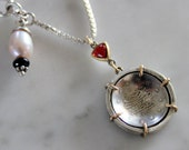 """sterling silver 14k antique Ottoman Empire coin pendant with garnet and freshwater pearl & black spinel on 21"""" sterling box chain"""