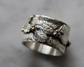 Sterling Silver 14k gold Holly Berry ring 12.5 mm wide( 1/2 inch), 9.75 grams size 6 3/4- hand engraved