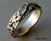 Sterling Silver  vine leaf ring, wedding ring organic natural design. size 6 1/2 hand engraved.