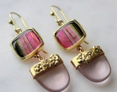 Exceptional tourmaline & rose quartz cherry blossom earring in 18k gold handmade one of a kind on french ear wires