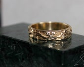 14k  gold vine leaf ring, wedding ring natural organic design hand engraved -size 7 3/4 -all sizes available