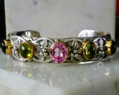 Pink tourmaline & peridot sterling silver 14k gold oak leaf cuff  with freshwater pearls hand engraved one of a kind