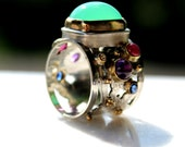 Chrysoprase,ruby,amethyst,diamond,sapphire ring in sterling silver with 14k, 18k and 22k gold-size 6 3/4- one of a kind