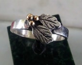 Sterling silver leaf ring with 14k gold grapes size 7.5 handmade hand engraved