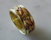 Custom 14k gold ring in 14k yellow , rose and green gold -vine leaf pattern hand engraved- made to order