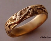 14k  gold vine leaf ring, wedding ring natural organic design hand engraved stock size 6 1/2 -all sizes available treasury item