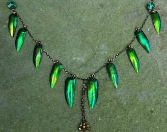 Beetle Wing Necklace in Gold Tones