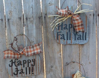Rustic Fall Pumpkin Tin Sign, Happy Fall, Happy Fall Y'all, Welcome signs, Autumn decor, rusty tin, porch decor, door hanger, rustic decor