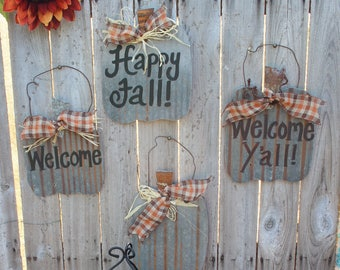 Rustic Fall Pumpkin Tin Sign, Happy Fall, Welcome Fall, Welcome signs, Autumn decor, rusty tin, porch decor, door hanger, rustic decor