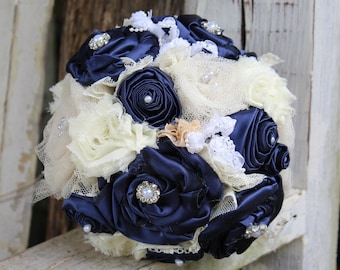 Navy Satin Fabric Bouquet, Navy and Ivory Bridal Bouquet with fabric flowers, lace, satin, tulle, pearls, rhinestones, keepsake bouquet
