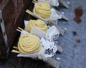 Butter Yellow and Gray Burlap Rose Boutonnieres for Vintage Farm Rustic Wedding with Burlap and Lace