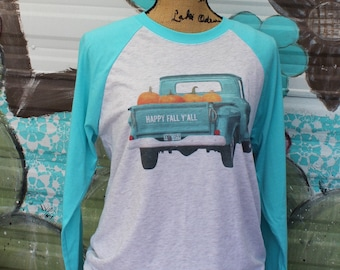 Happy Fall Y'all! Graphic t shirt with turquoise truck and pumpkins
