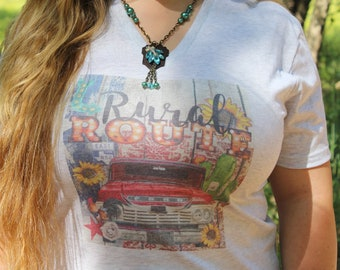 The Rural Route Graphic Tee Shirt, country girl v neck t with vintage red truck