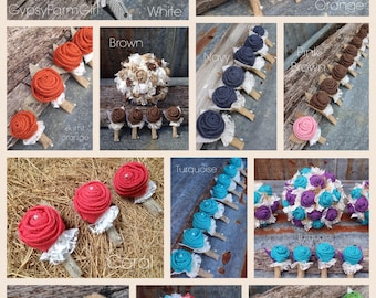 Burlap Boutonniere, Custom made burlap bouts for Groom, Groomsmen, Fathers, Rustic, Burlap and Lace Wedding Flowers, Lapel, 30+ colors