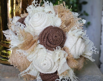 Small Burlap and Lace Wedding Bouquet Ready to Ship