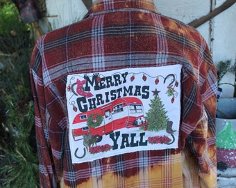 XL  Flannel shirt with Red Camper Christmas Scene, Bleached flannel shirt JE427