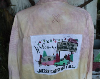 XL Flannel Shirt with Pink and Turquoise Truck, Camper, Christmas Tree Farm on distressed flannel shirt JE424