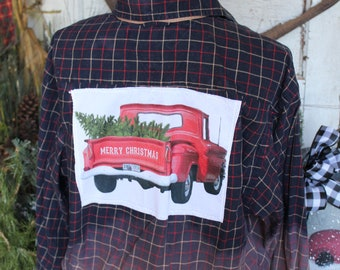 Large Red Christmas Truck Bleached Plaid Shirt, Red Truck with Christmas Tree JE415