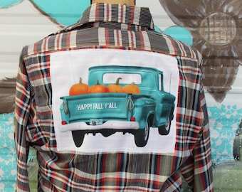 Medium Distressed Shirt with vintage truck and pumpkins Happy Fall Y'all JE404