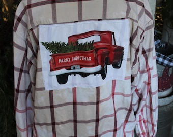 XXL Red Christmas Truck Bleached Plaid Shirt, Red Truck with Christmas Tree JE420