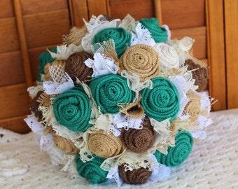 Teal Burlap and Lace Bridal Bouquet, Rustic Bouquet, Burlap Bouquet, Teal Burlap Bouquet, Teal Wedding Flowers, Bride's Bouquet, Country