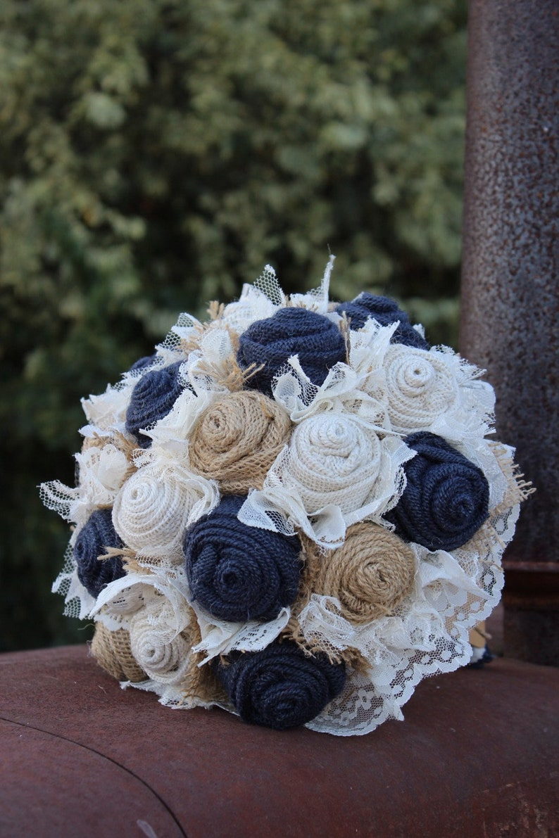 Navy Burlap and Lace Bridal Bouquet rustic wedding image 0