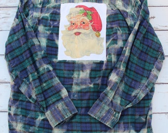 2XL Santa Flannel Shirt, distressed flannel with Vintage Santa Claus JE437