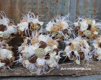 Sage Green Burlap and Lace Wedding Bouquets  and Boutonnieres with Feathers for Rustic, Vintage, Farm Wedding