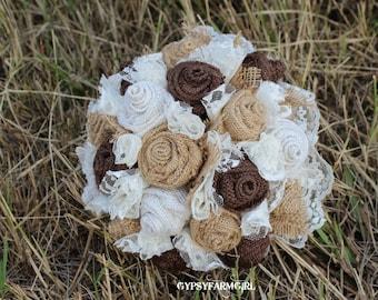 Burlap Bouquet, Burlap and Lace Bridal Bouquet, Rustic Chic Bridal Wedding Bouquet, Country, Farm Wedding, Keepsake Bouquet, Fabric FLowers