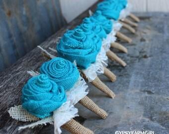 Turquoise Burlap Boutonnieres for Groom, Groomsmen, Bout, Rustic Wedding Flowers, Vintage Farm Burlap and Lace Wedding, Lapel Flower,